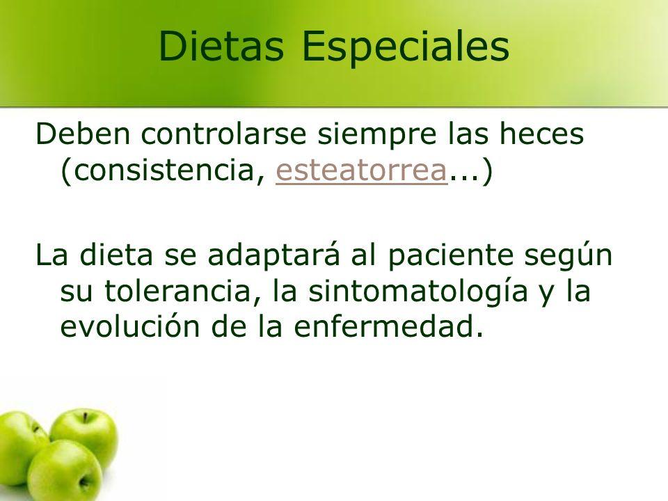 Dietas Especiales Deben controlarse siempre las heces (consistencia, esteatorrea...)