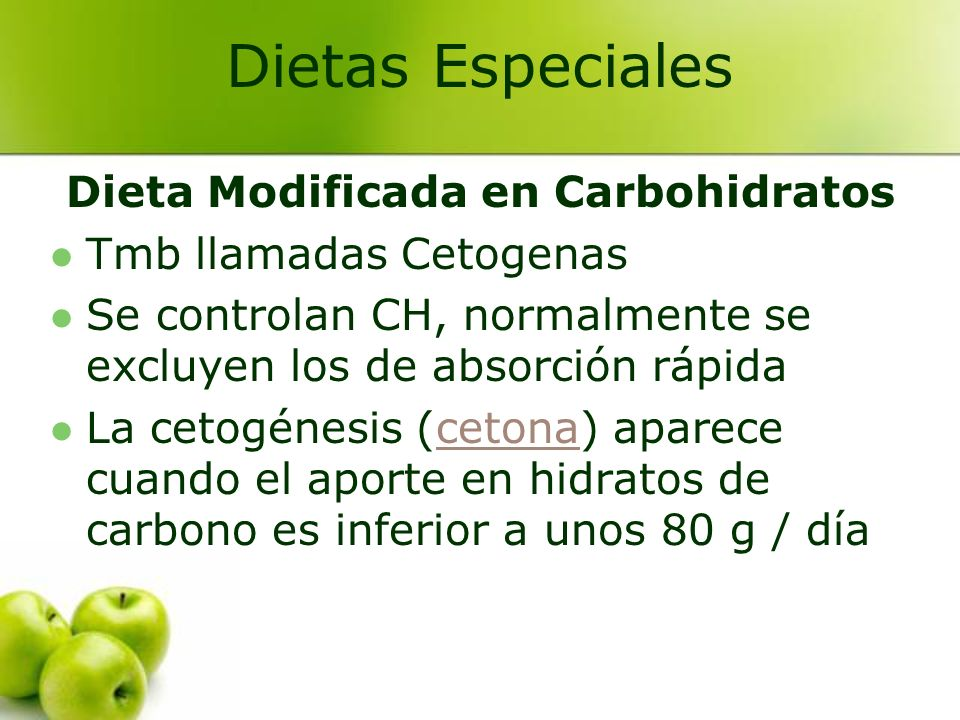 Dieta Modificada en Carbohidratos