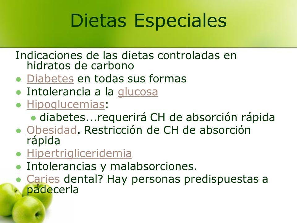 Dietas Especiales Indicaciones de las dietas controladas en hidratos de carbono. Diabetes en todas sus formas.
