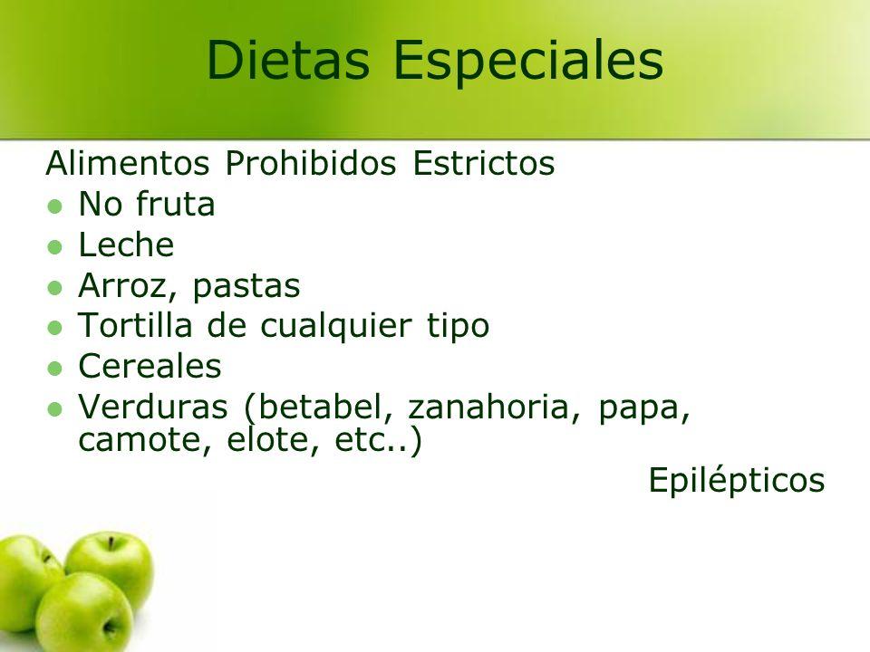 Dietas Especiales Alimentos Prohibidos Estrictos No fruta Leche