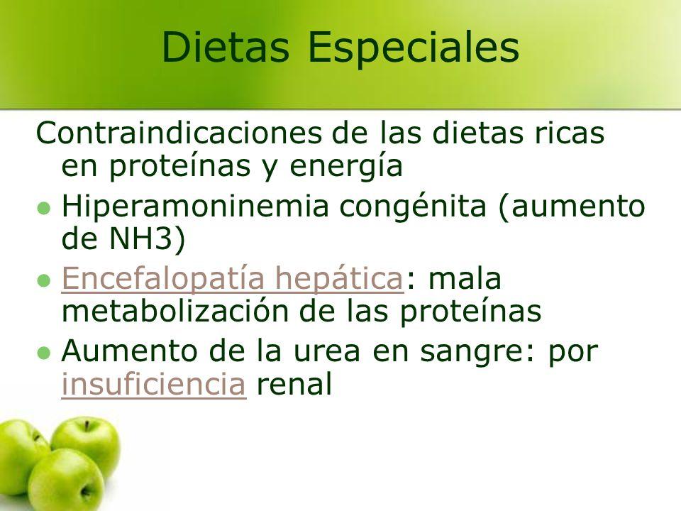 Dietas Especiales Contraindicaciones de las dietas ricas en proteínas y energía. Hiperamoninemia congénita (aumento de NH3)