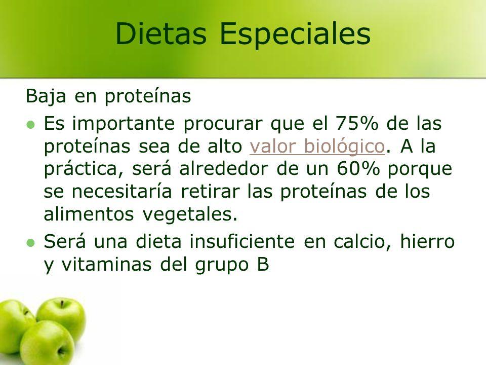 Dietas Especiales Baja en proteínas