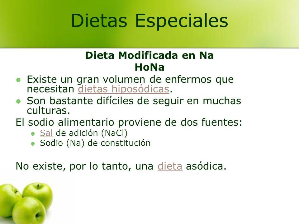 Dietas Especiales Dieta Modificada en Na HoNa