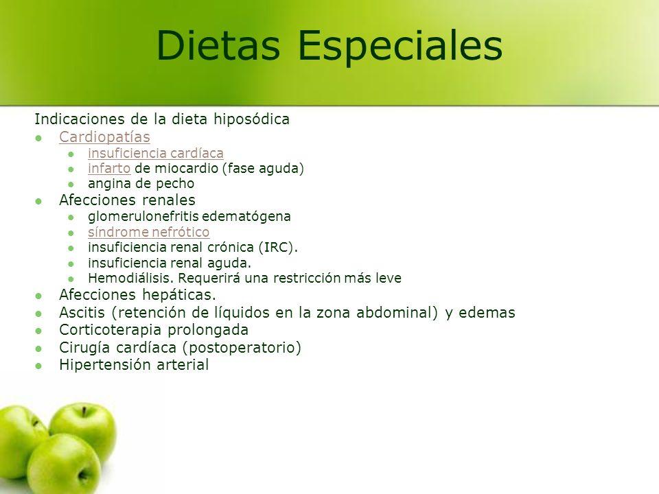 Dietas Especiales Indicaciones de la dieta hiposódica Cardiopatías