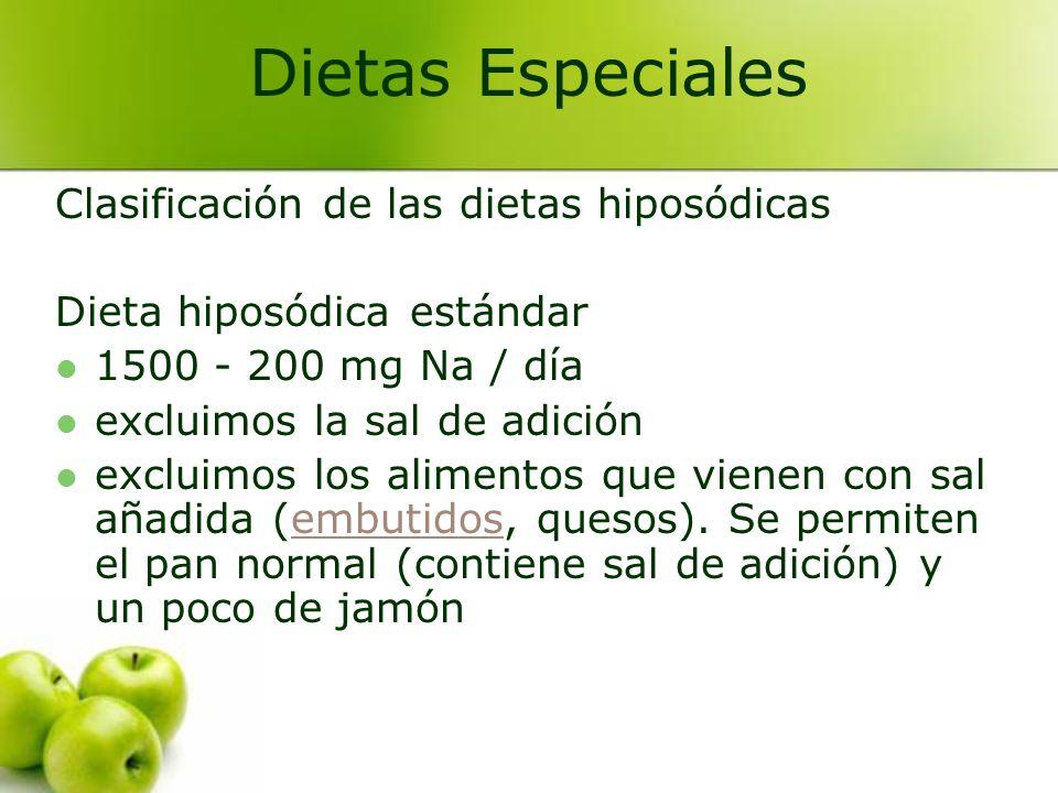 Dietas Especiales Clasificación de las dietas hiposódicas
