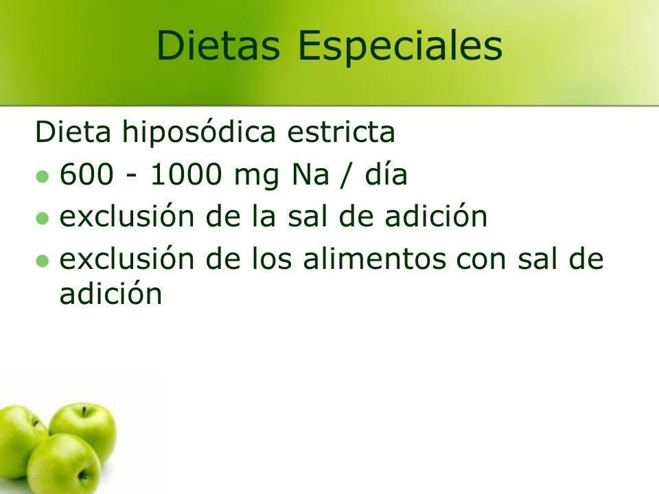 Dietas Especiales Dieta hiposódica estricta 600 - 1000 mg Na / día