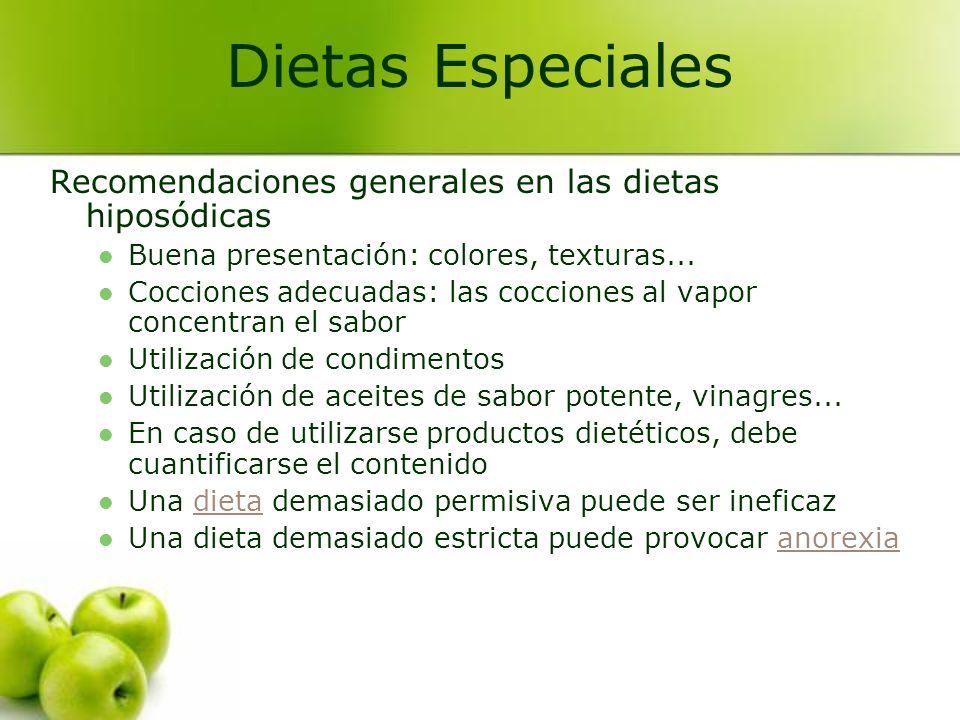 Dietas Especiales Recomendaciones generales en las dietas hiposódicas