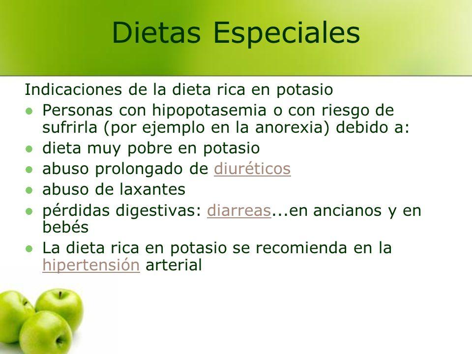 Dietas Especiales Indicaciones de la dieta rica en potasio
