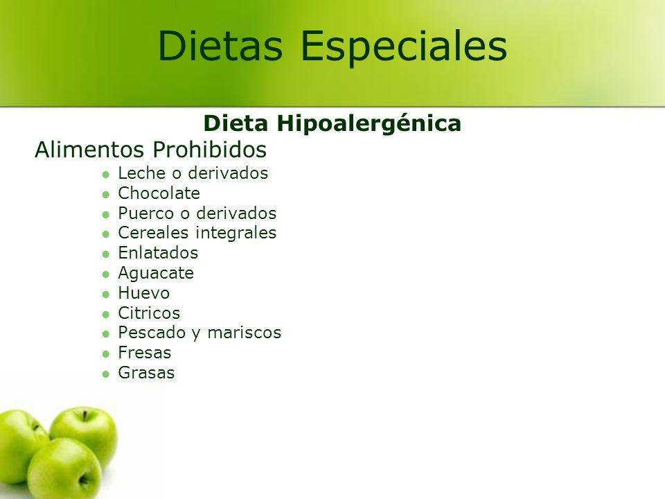 Dietas Especiales Dieta Hipoalergénica Alimentos Prohibidos
