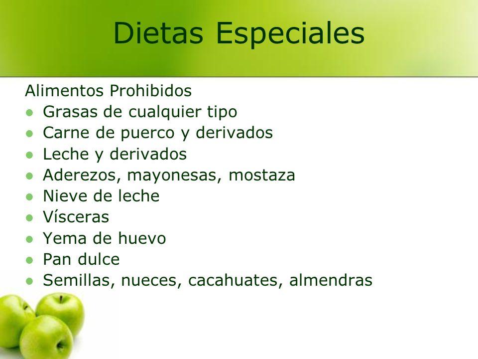 Dietas Especiales Alimentos Prohibidos Grasas de cualquier tipo