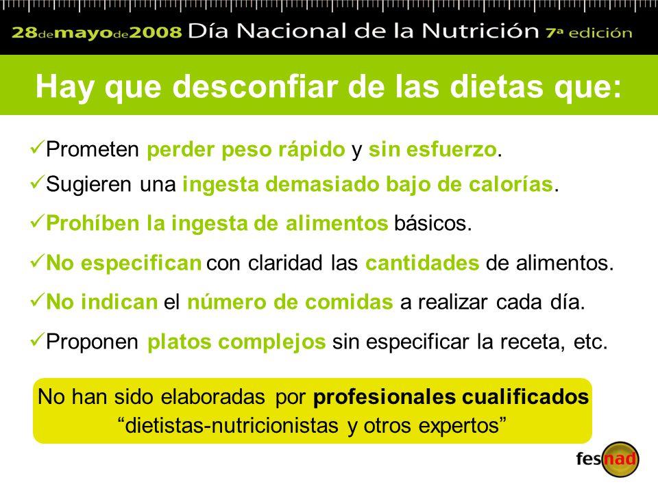 Hay que desconfiar de las dietas que: