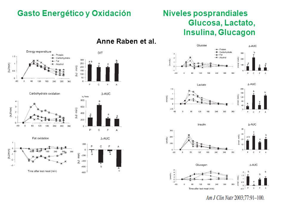 Gasto Energético y Oxidación Niveles posprandiales