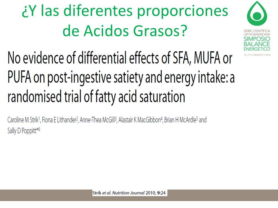 ¿Y las diferentes proporciones de Acidos Grasos