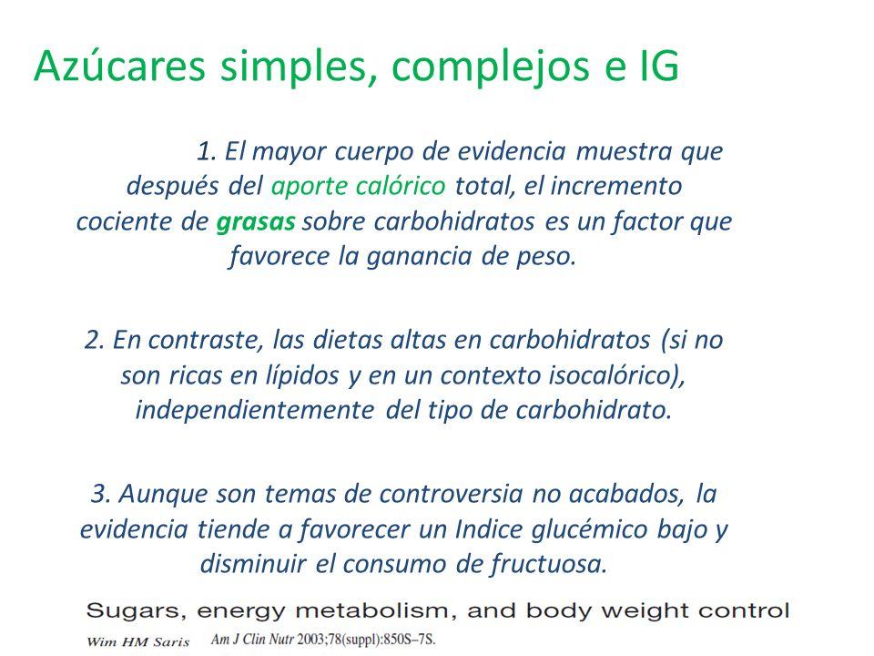 Azúcares simples, complejos e IG