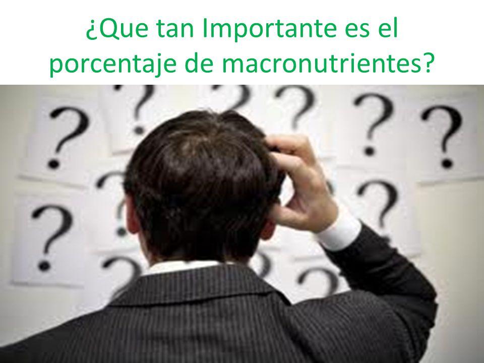 ¿Que tan Importante es el porcentaje de macronutrientes