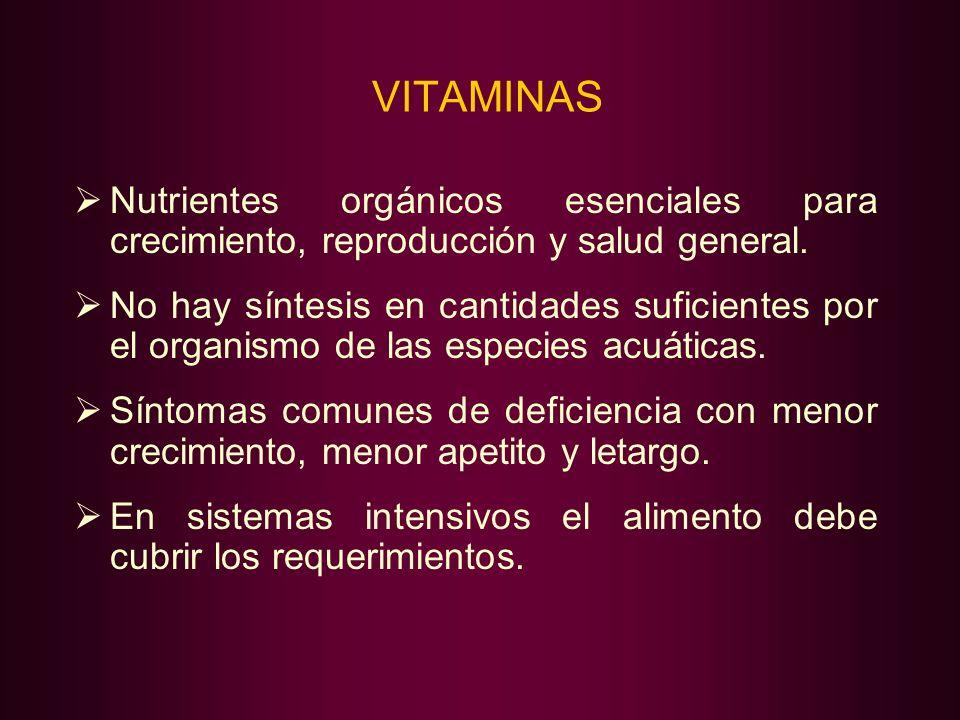 VITAMINAS Nutrientes orgánicos esenciales para crecimiento, reproducción y salud general.
