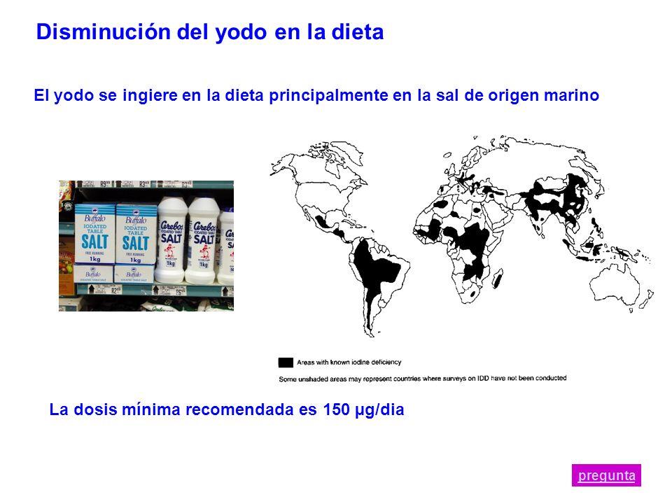 Disminución del yodo en la dieta