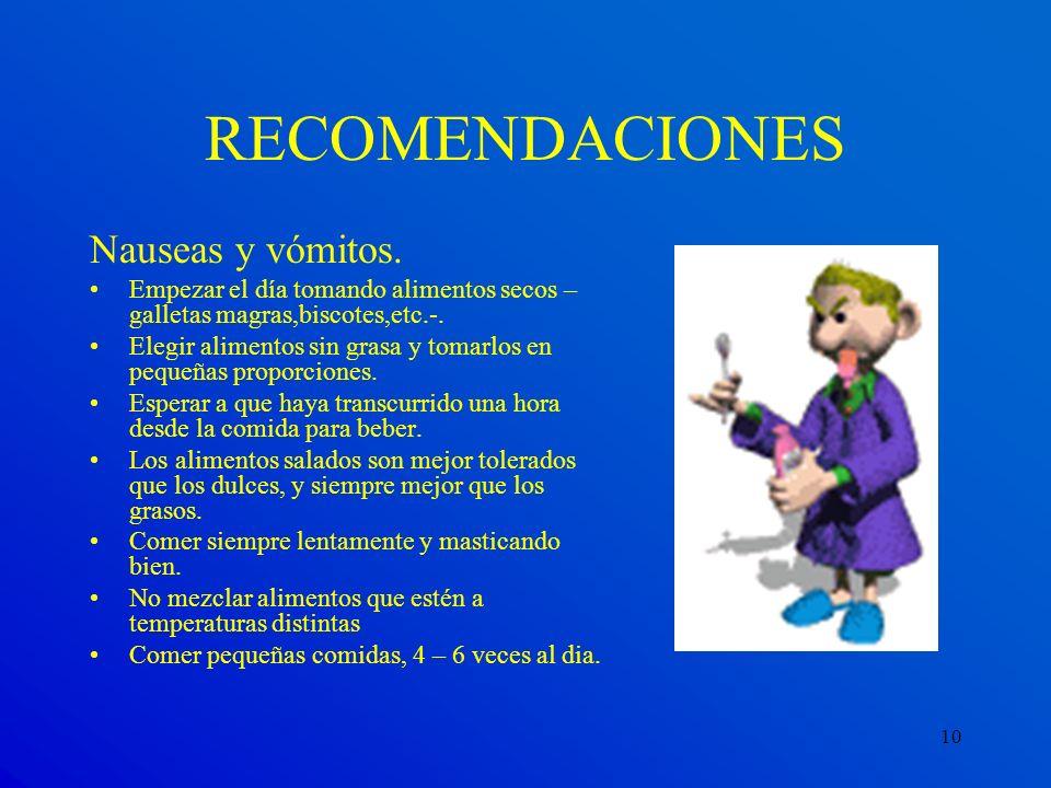 RECOMENDACIONES Nauseas y vómitos.