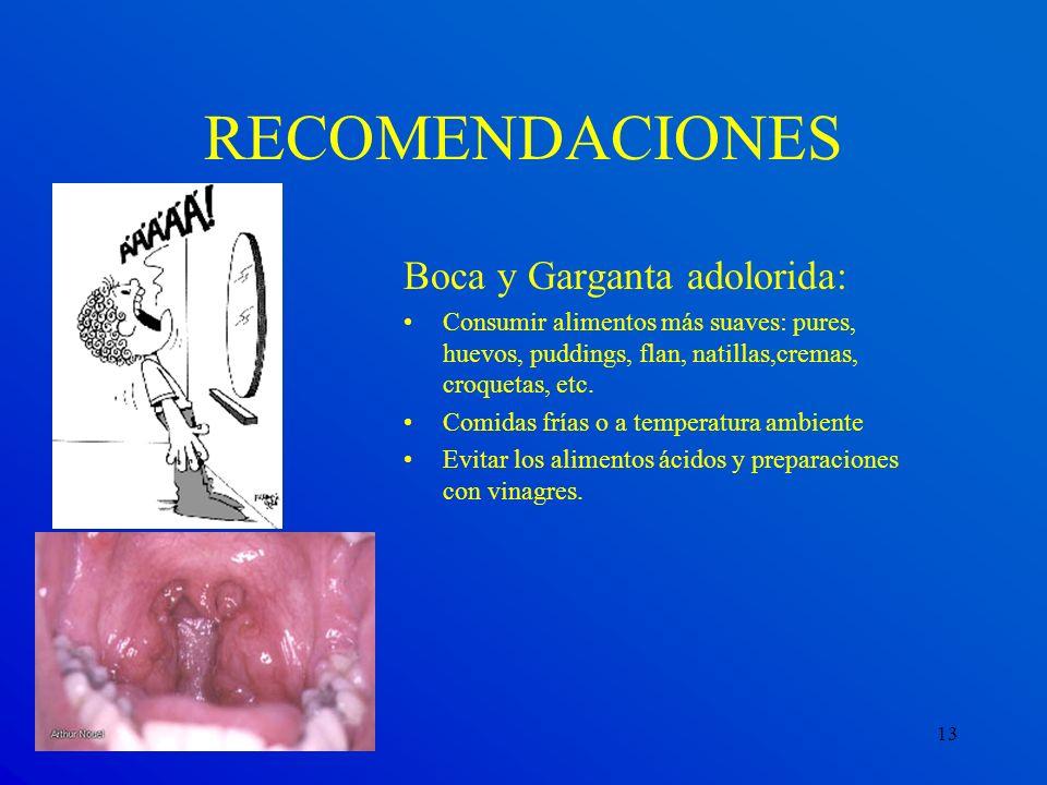 RECOMENDACIONES Boca y Garganta adolorida: