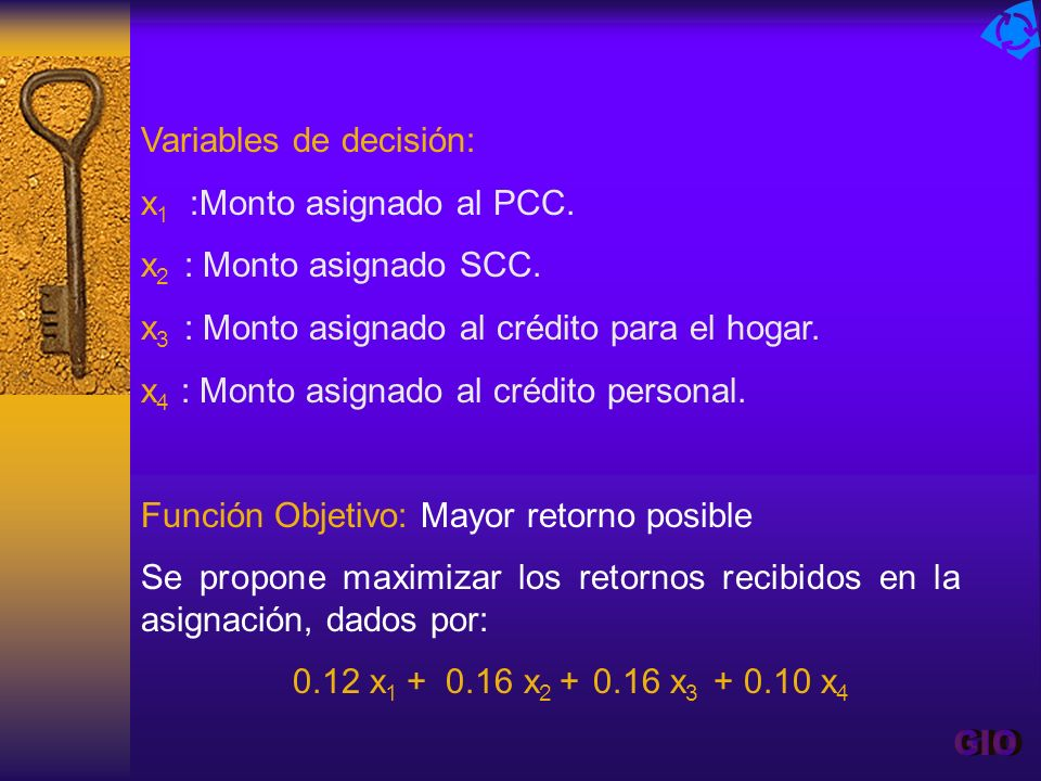 GIO Variables de decisión: x1 :Monto asignado al PCC.