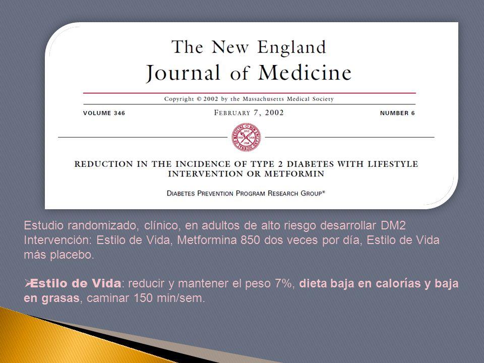 Estudio randomizado, clínico, en adultos de alto riesgo desarrollar DM2