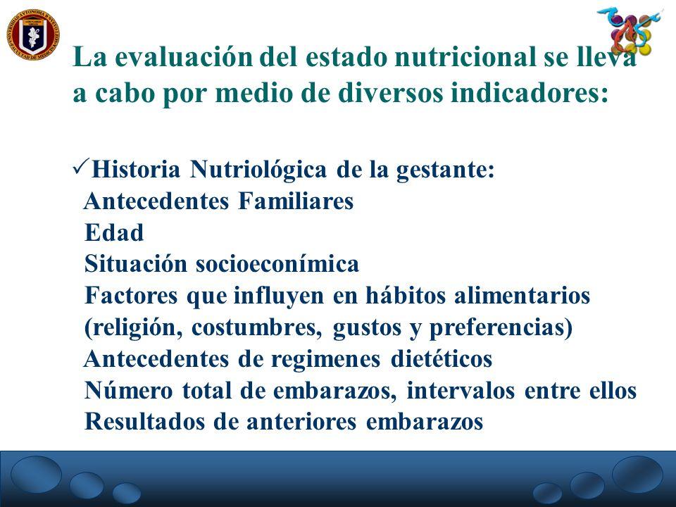 La evaluación del estado nutricional se lleva