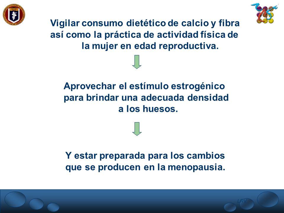 Vigilar consumo dietético de calcio y fibra