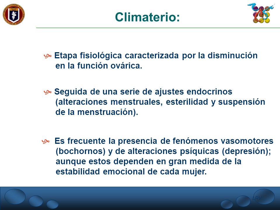 Climaterio: Etapa fisiológica caracterizada por la disminución