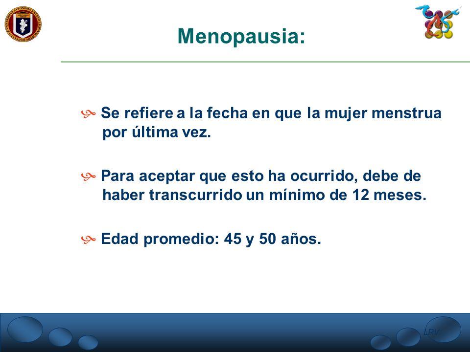Menopausia: Se refiere a la fecha en que la mujer menstrua
