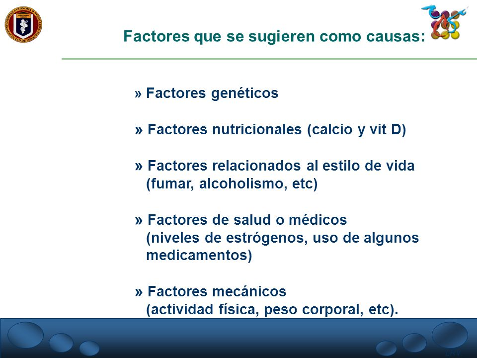 Factores que se sugieren como causas: