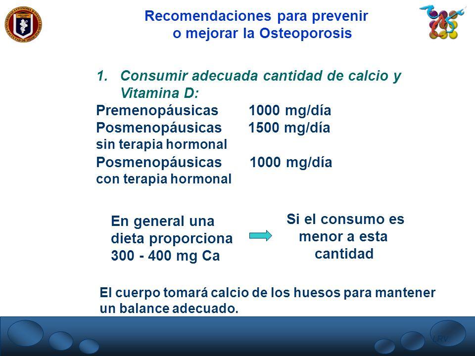 Recomendaciones para prevenir o mejorar la Osteoporosis
