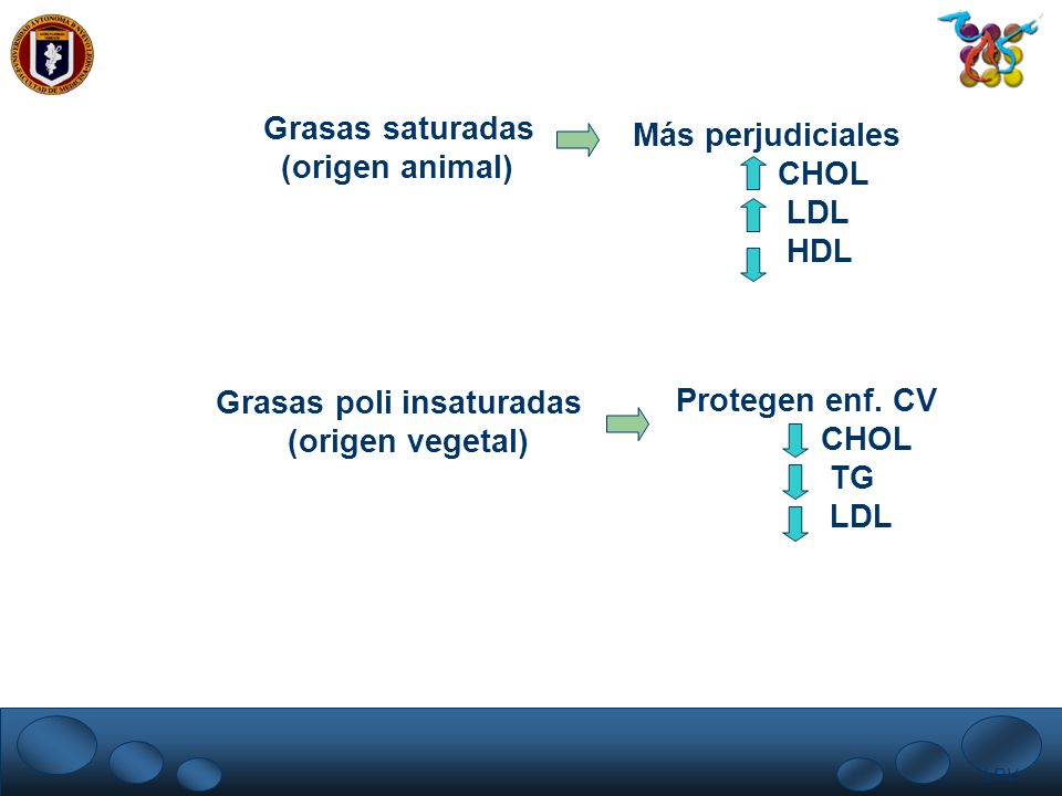 Grasas poli insaturadas (origen vegetal) Protegen enf. CV CHOL TG LDL