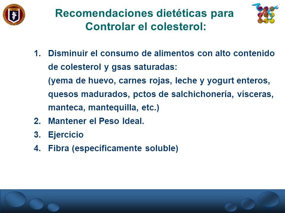 Recomendaciones dietéticas para Controlar el colesterol: