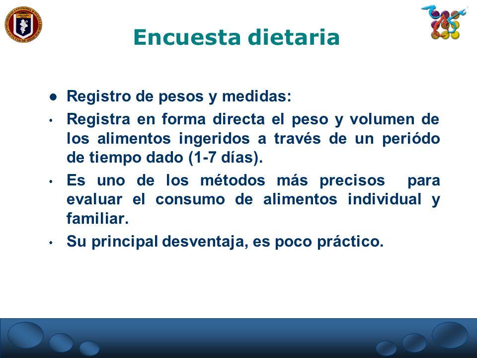 Encuesta dietaria Registro de pesos y medidas: