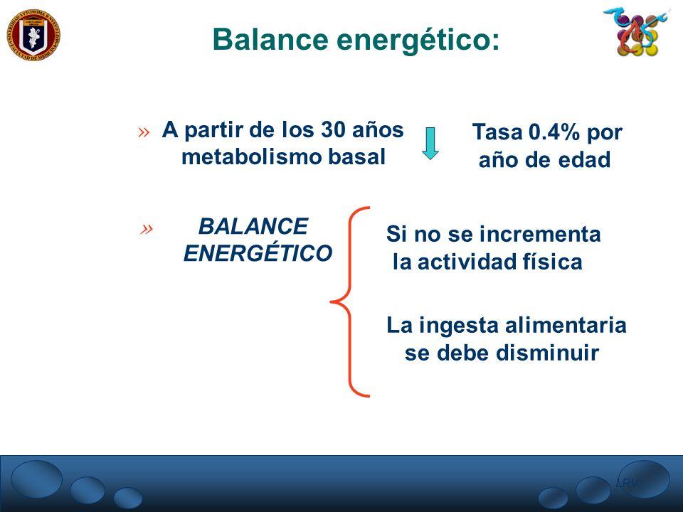 Balance energético: » A partir de los 30 años metabolismo basal