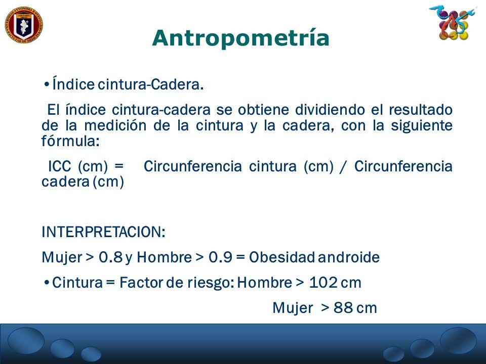 Antropometría Índice cintura-Cadera.