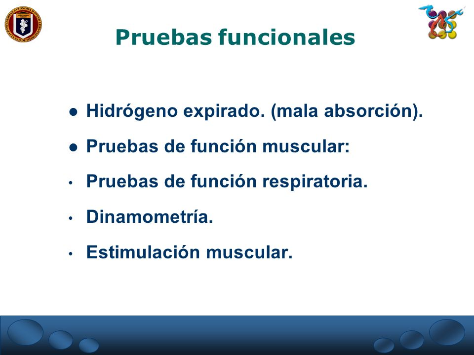 Pruebas funcionales Hidrógeno expirado. (mala absorción).