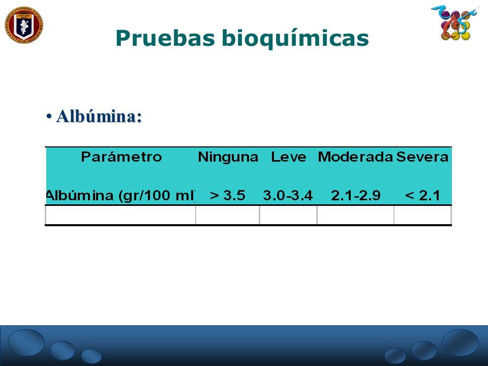 Pruebas bioquímicas Albúmina:
