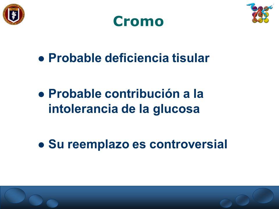 Cromo Probable deficiencia tisular