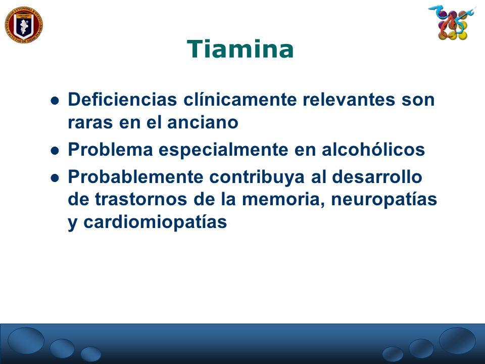 Tiamina Deficiencias clínicamente relevantes son raras en el anciano
