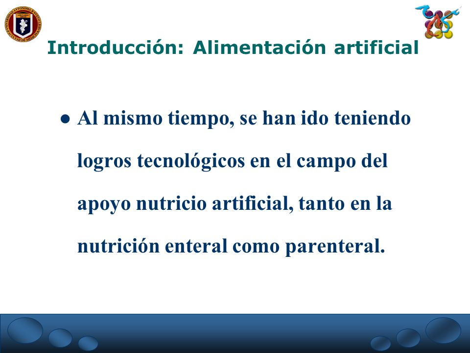 Introducción: Alimentación artificial