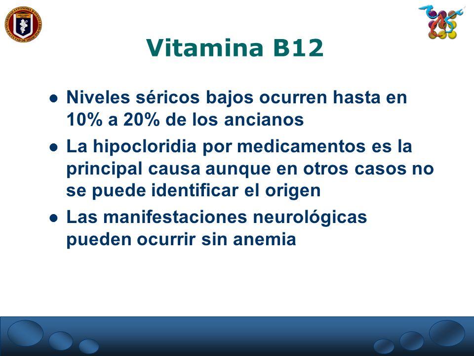 Vitamina B12 Niveles séricos bajos ocurren hasta en 10% a 20% de los ancianos.