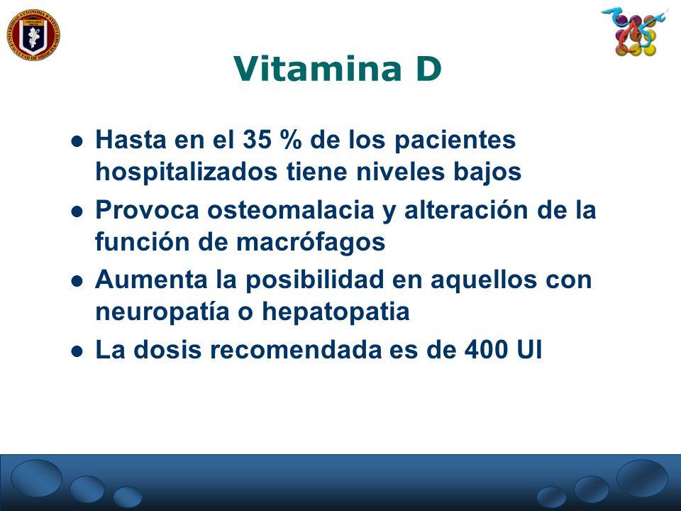 Vitamina D Hasta en el 35 % de los pacientes hospitalizados tiene niveles bajos. Provoca osteomalacia y alteración de la función de macrófagos.