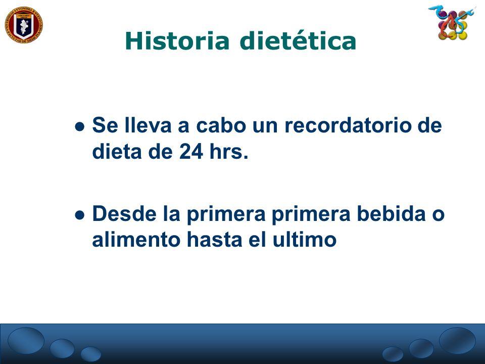 Historia dietética Se lleva a cabo un recordatorio de dieta de 24 hrs.