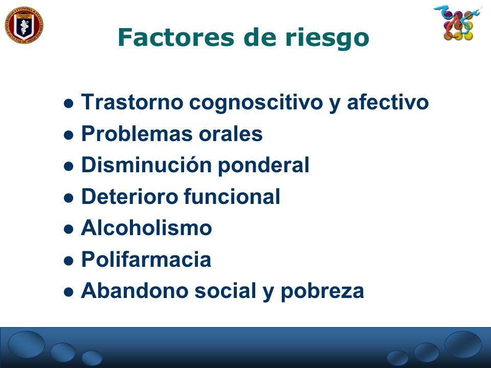 Factores de riesgo Trastorno cognoscitivo y afectivo Problemas orales
