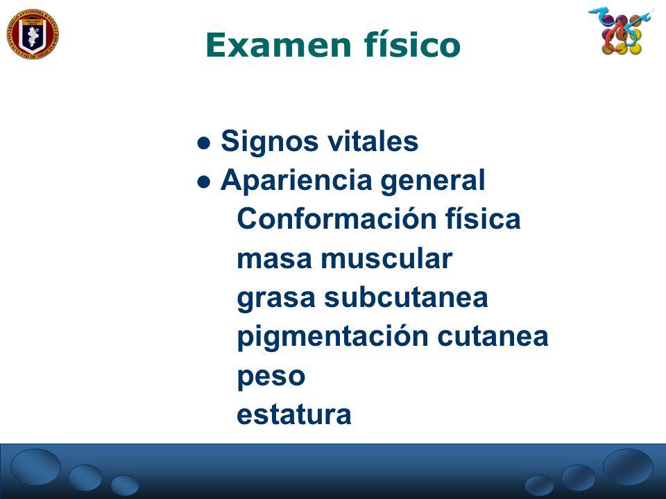 Examen físico Signos vitales Apariencia general Conformación física