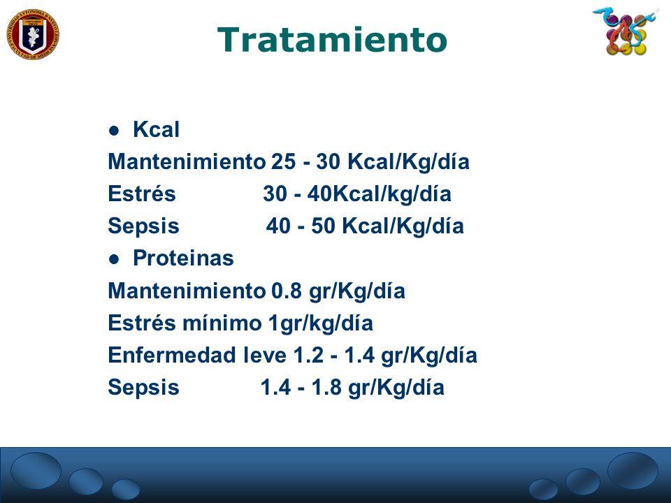 Tratamiento Kcal Mantenimiento 25 - 30 Kcal/Kg/día