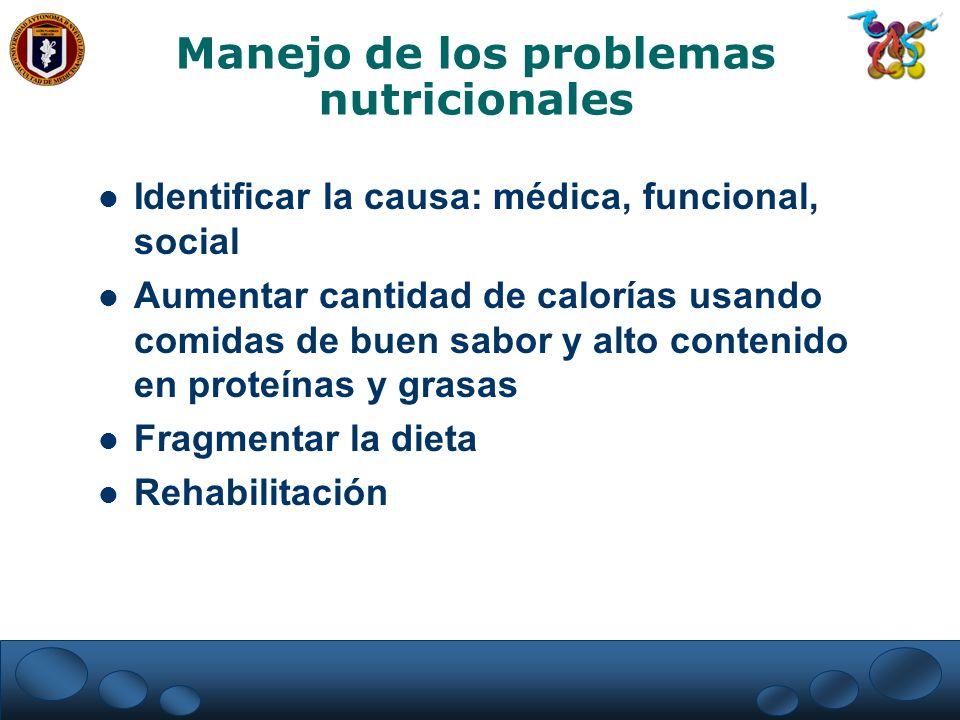Manejo de los problemas nutricionales