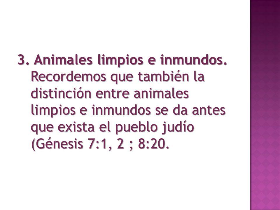 3. Animales limpios e inmundos