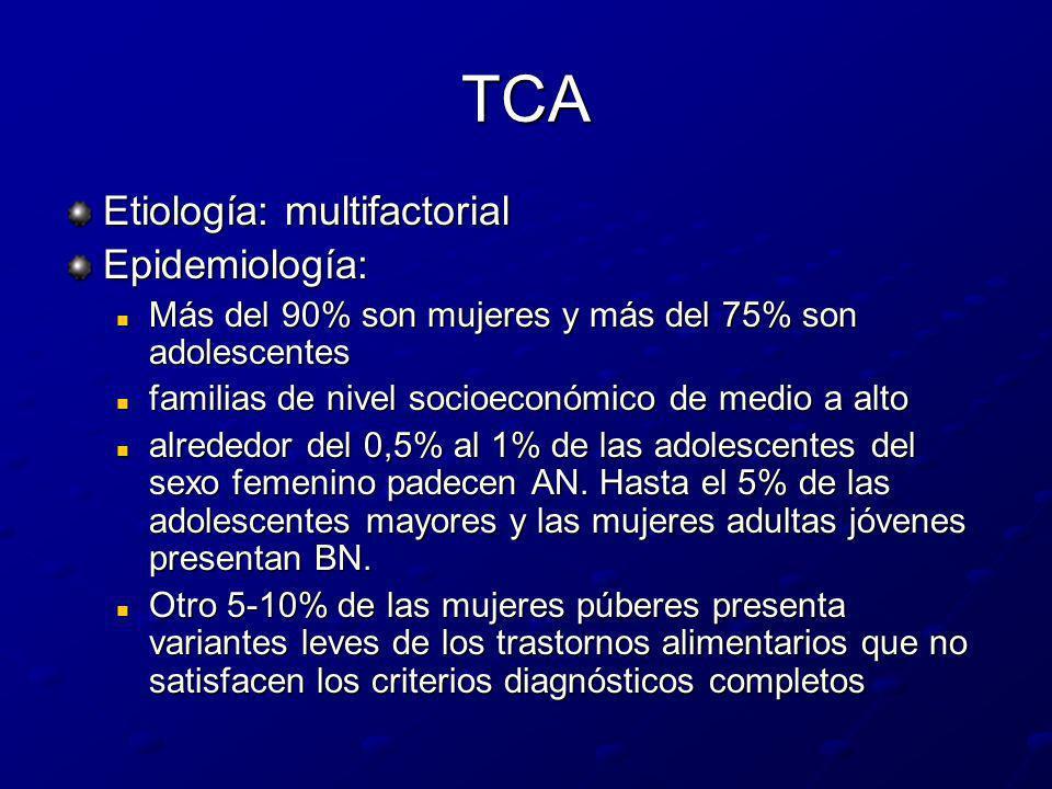 TCA Etiología: multifactorial Epidemiología: